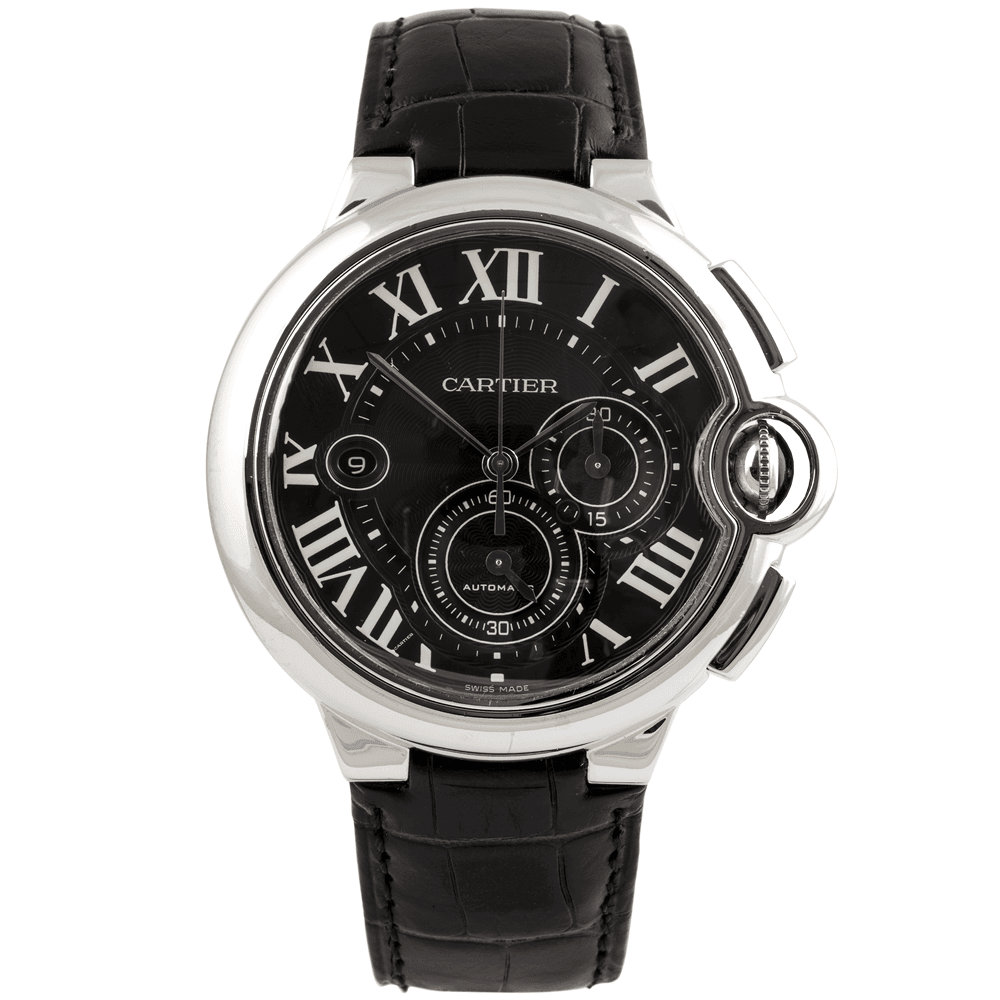 Pre Owned Cartier Ballon Bleu 47mm Black Dial Amp Leather