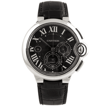 Cartier Ballon Bleu 47mm Black Dial & Leather Strap Men's Automatic Watch