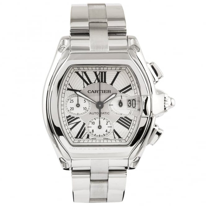 pre owned cartier roadster chronograph steel silver
