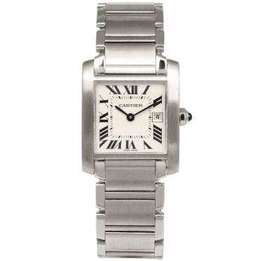 Cartier Tank Francaise Medium-Size Steel & White Roman Dial Watch
