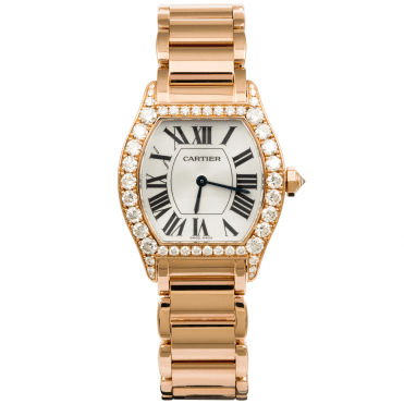 Cartier Tortue 18ct Pink Gold & Diamond Set Ladies Watch