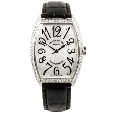 Franck Muller Curvex 18ct White Gold Diamond Case Strap Watch