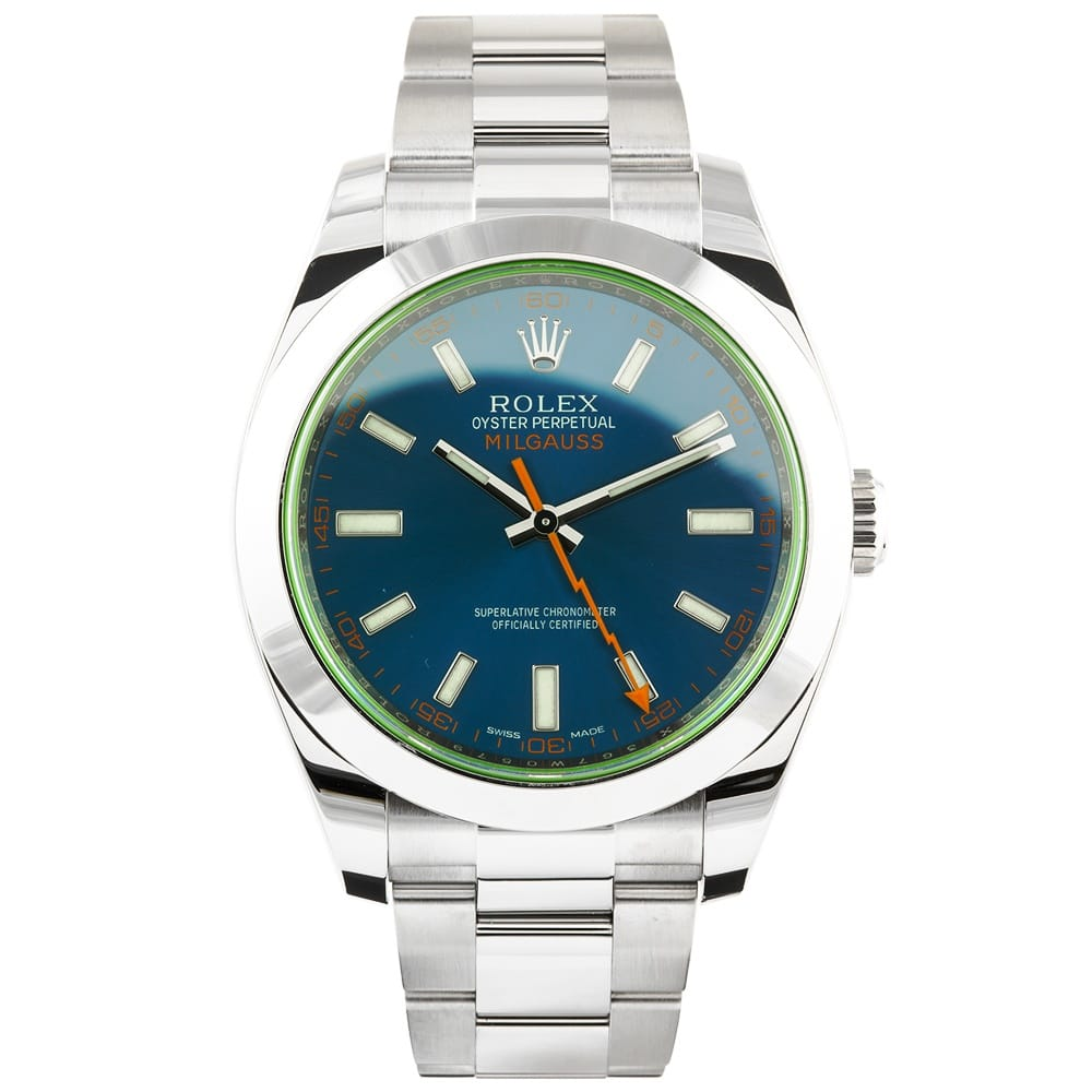 Pre-Owned Unused Rolex Milgauss Green Glass Steel Blue ...