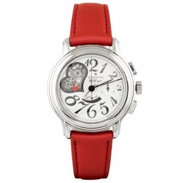 Zenith El Primero Star Open Automatic Steel Ladies Red Strap Watch