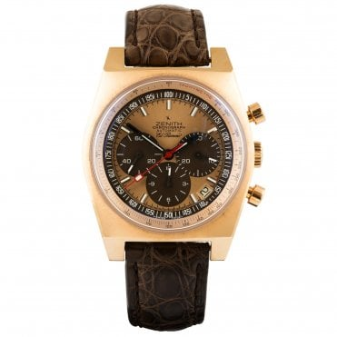 Zenith El Primero Vintage 1969 18ct Rose Gold Champagne Dial Automatic Men's Strap Watch