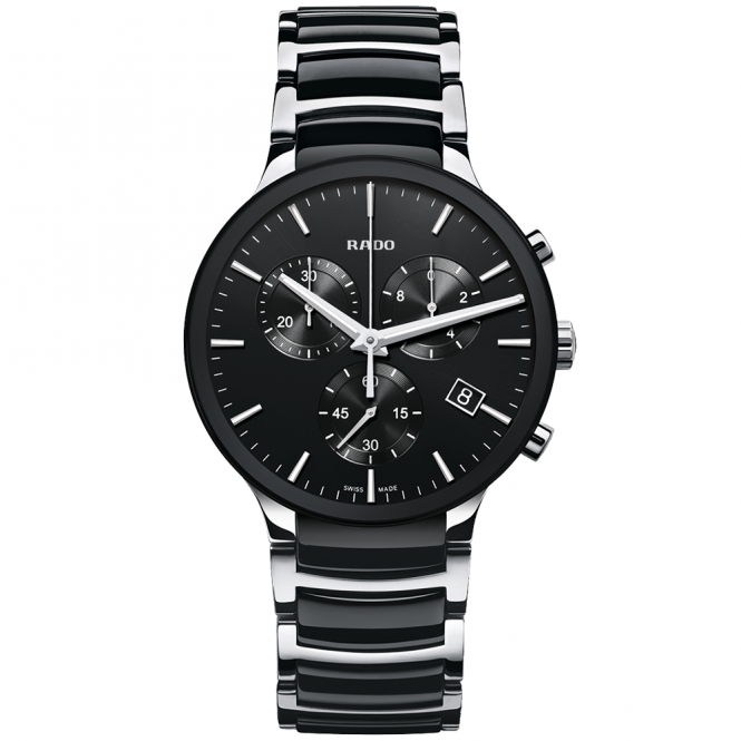 rado centrix 40mm steel black ceramic s chronograph