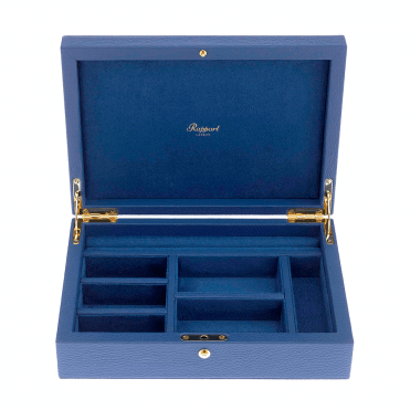 Blue Leather & Suede Large Jewellery Box
