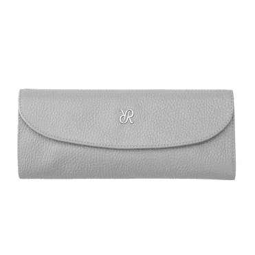 Grey Leather & Suede Luxury Jewellery Roll