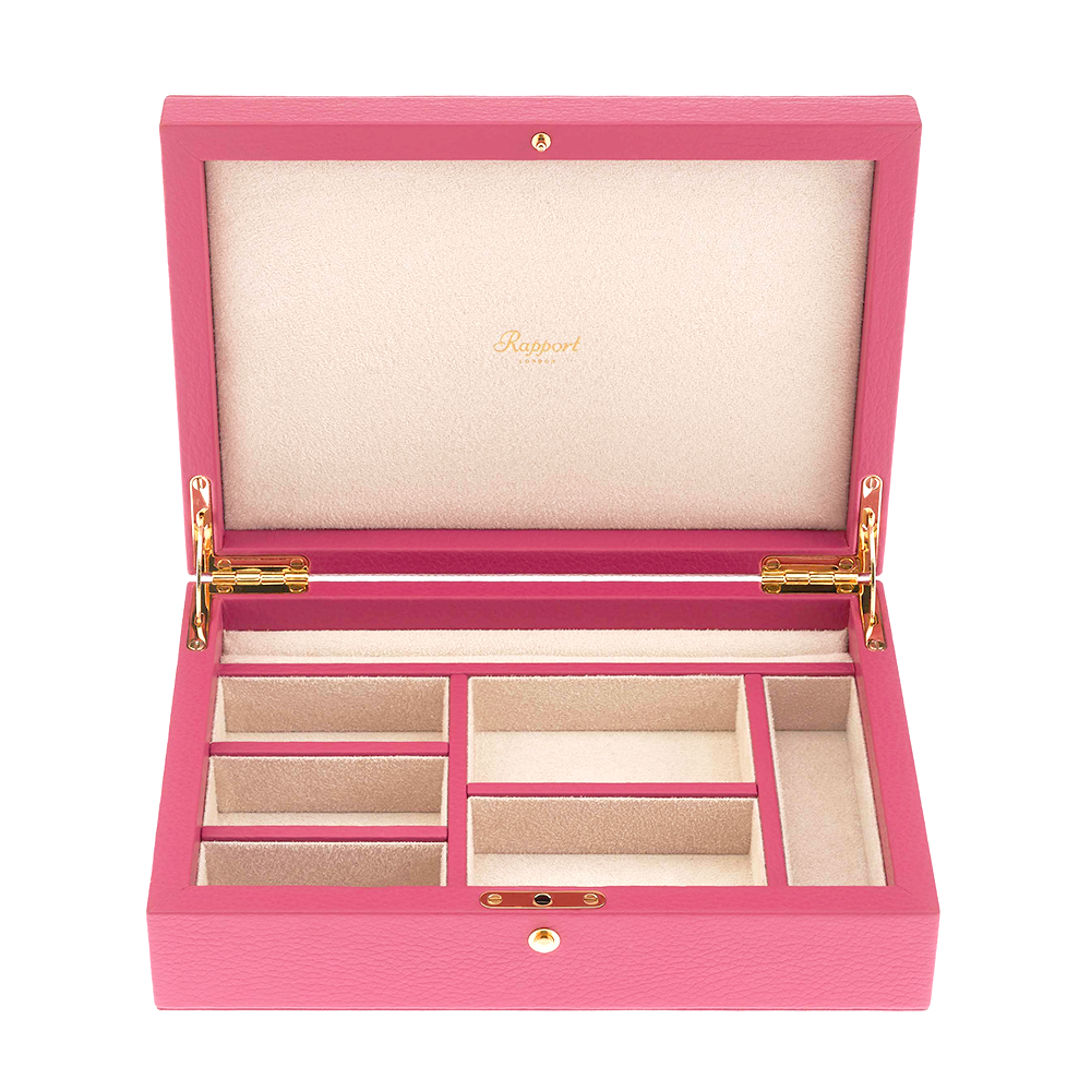 Rapport Pink Leather & Suede Large Jewellery Box J118