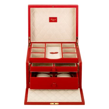 Red Leather & Suede Grand Jewellery Box