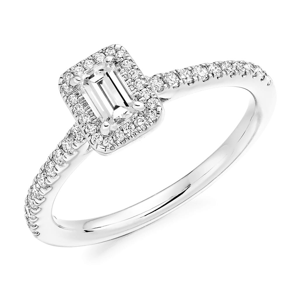Berry s Rectangular Emerald Cut Diamond & Surround Engagement Ring Fr