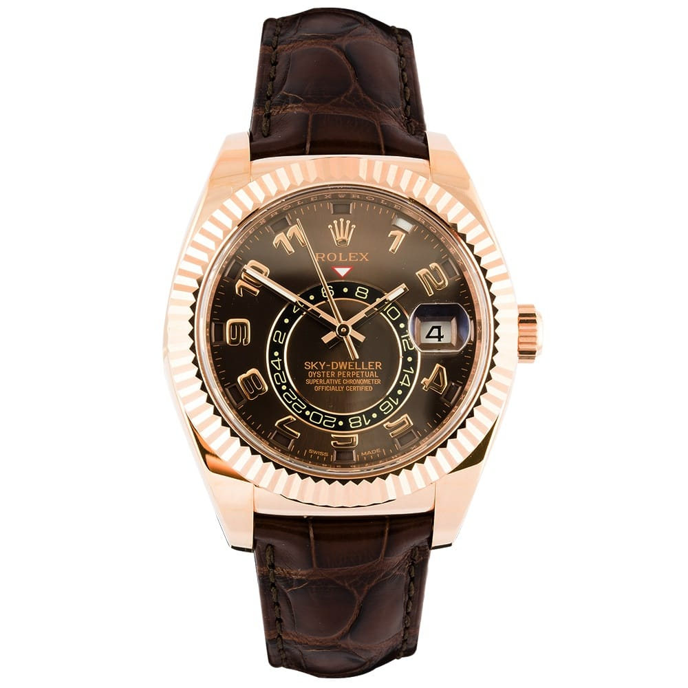pre owned unused rolex datejust steel yellow gold diamond bezel rolex pre owned unused skydweller 18ct rose gold chocolate brown dial automatic men s