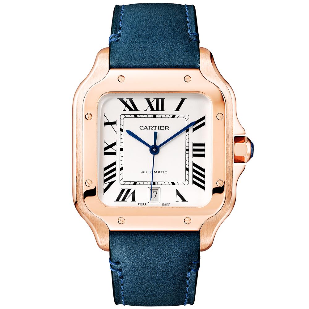 20df88b1d6d Cartier Santos Large 18ct Pink Gold Alligator Calf Strap Watch