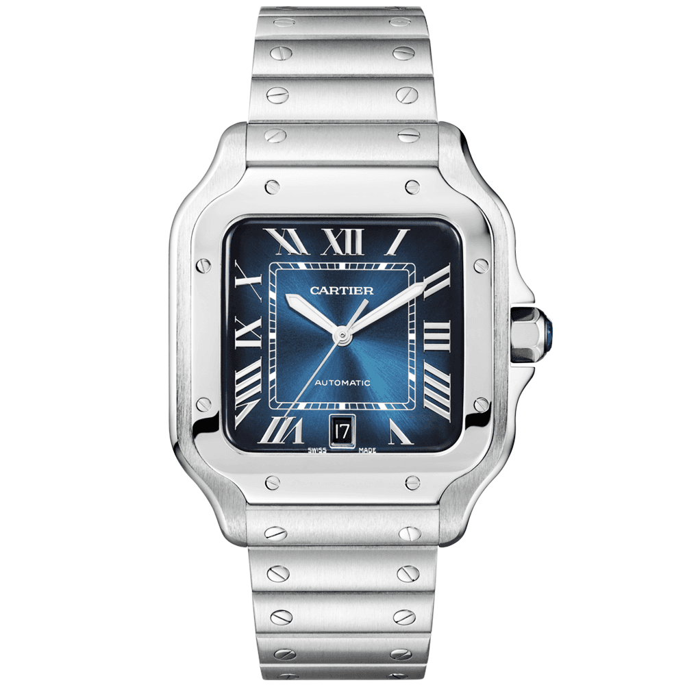 4db85e90e79e7 Cartier Santos de Cartier Large Automatic Steel Bracelet Strap Watch