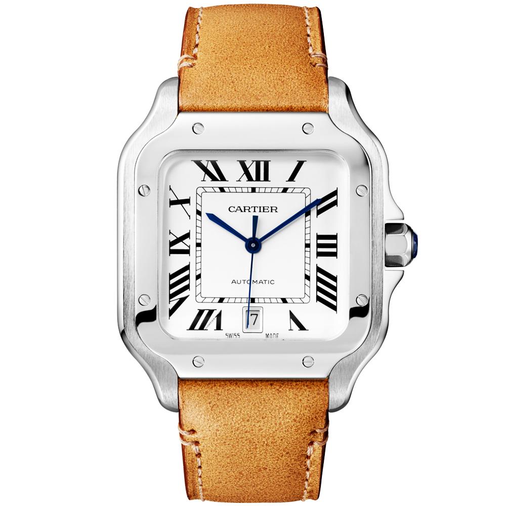 451b25bee0 Cartier Santos de Cartier Large Steel Automatic Bracelet Strap Watch