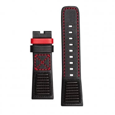 Big Block Black Calf Leather & Red Lining Watch Strap
