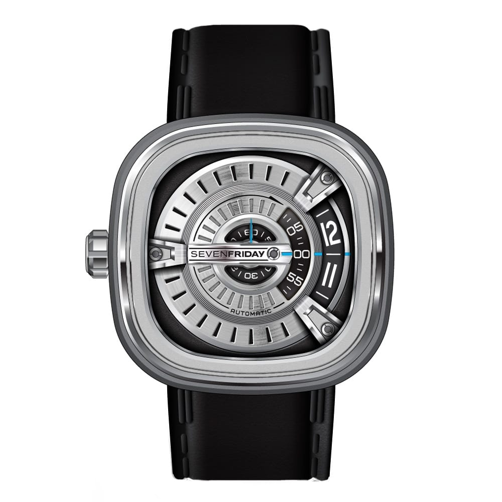 Sevenfriday m1 steel men 39 s leather strap watch m1 01 from berry 39 s jewellers for Sevenfriday watches