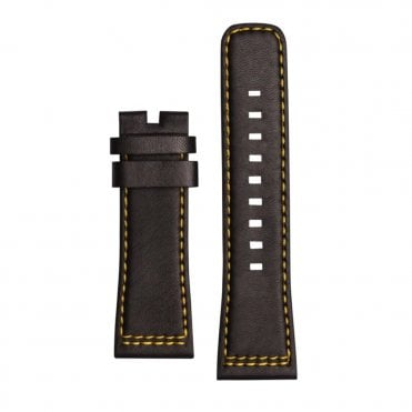 Micah's Voice Black Leather & Yellow Lining Watch Strap