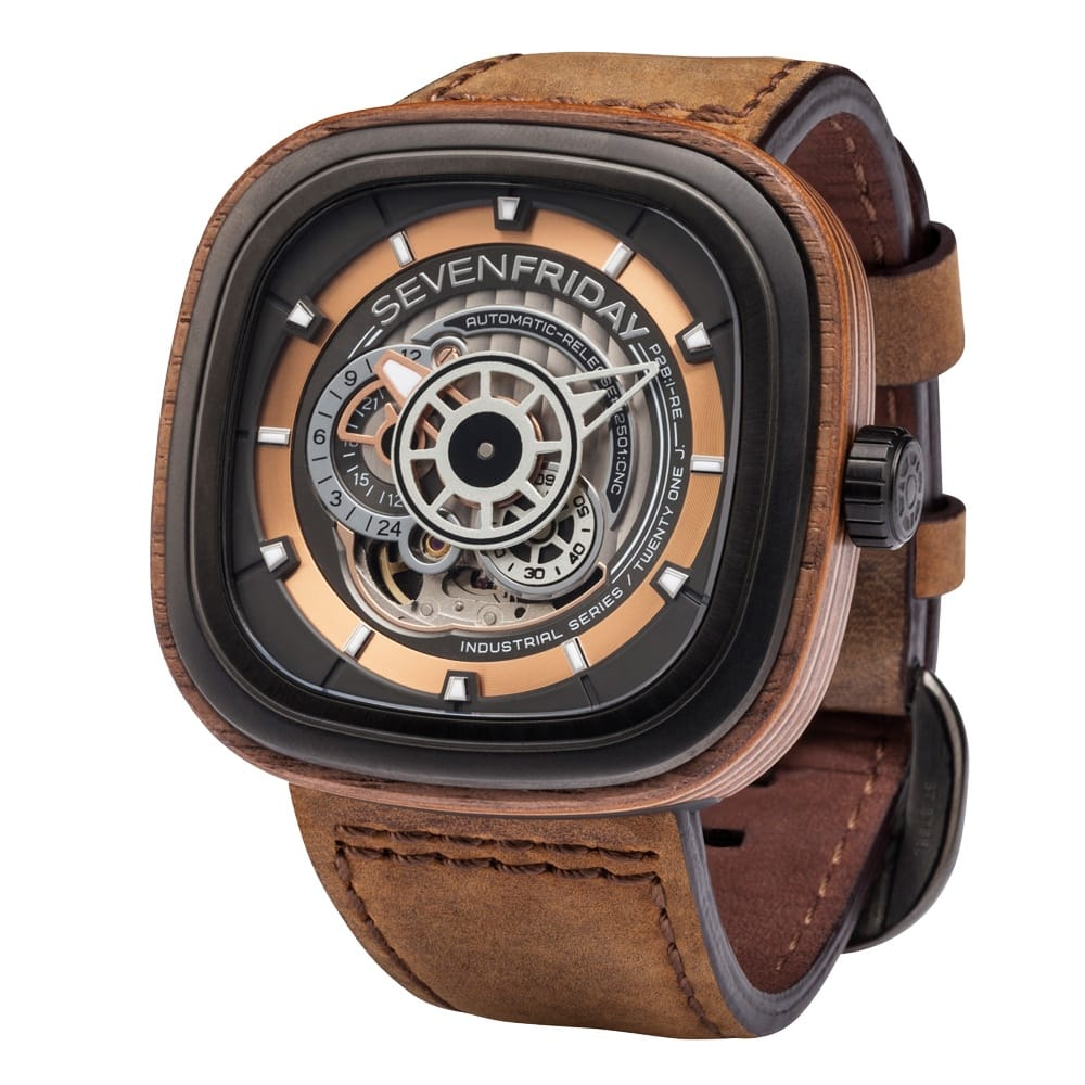 Sevenfriday new woody limited edition p2b 03 w wood case automatic men 39 s leather strap watch for Sevenfriday watches
