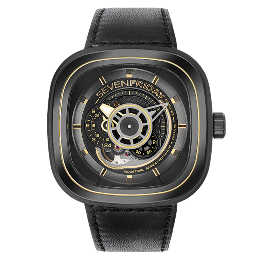 Sevenfriday p series p2b 01 black gold pvd leather strap men 39 s watch for Sevenfriday watches