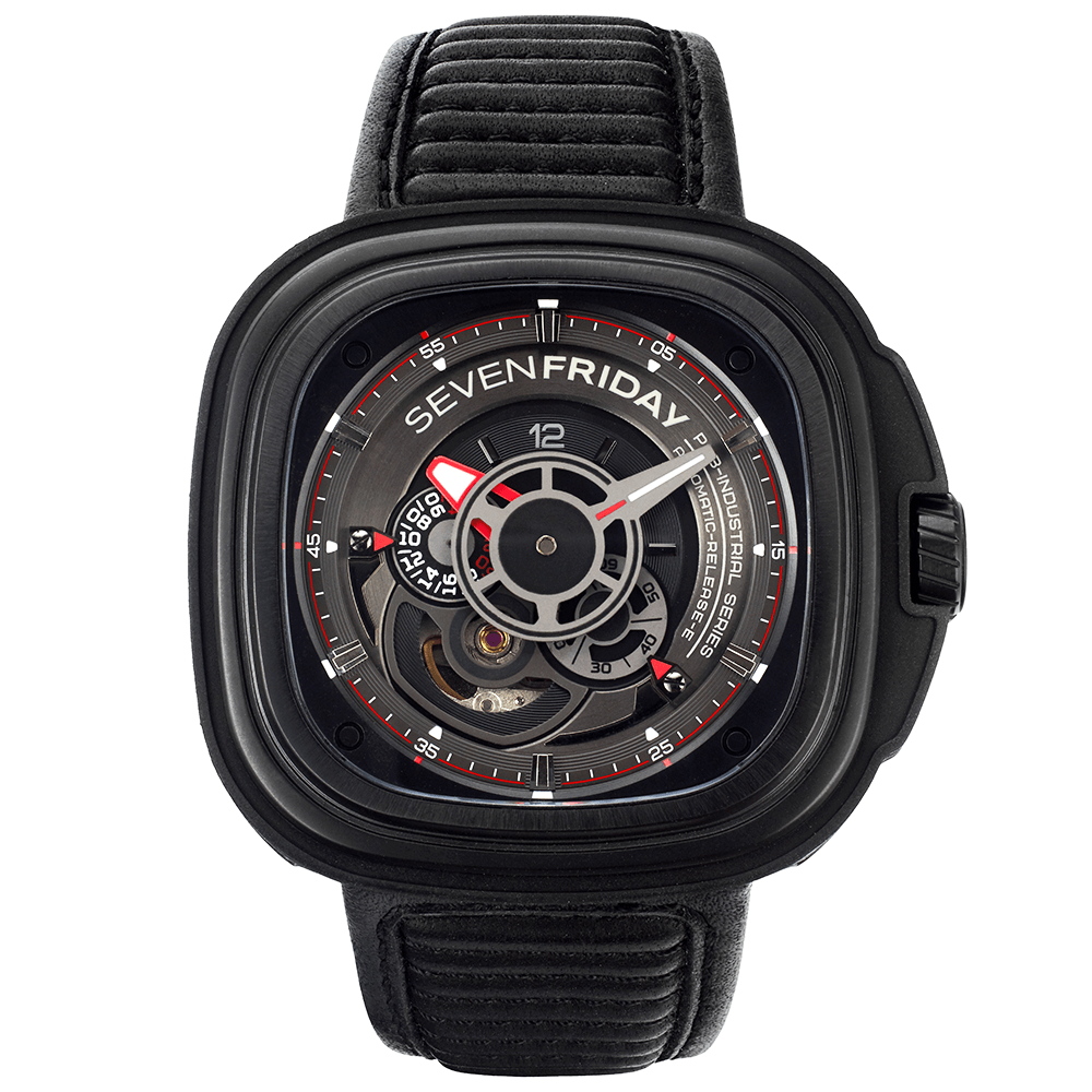 Sevenfriday p series racer p3b 01 black pvd leather strap watch for Sevenfriday watches