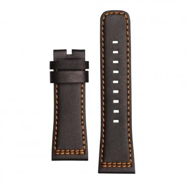 P1/03 Black Calf Leather & Orange Lining Watch Strap
