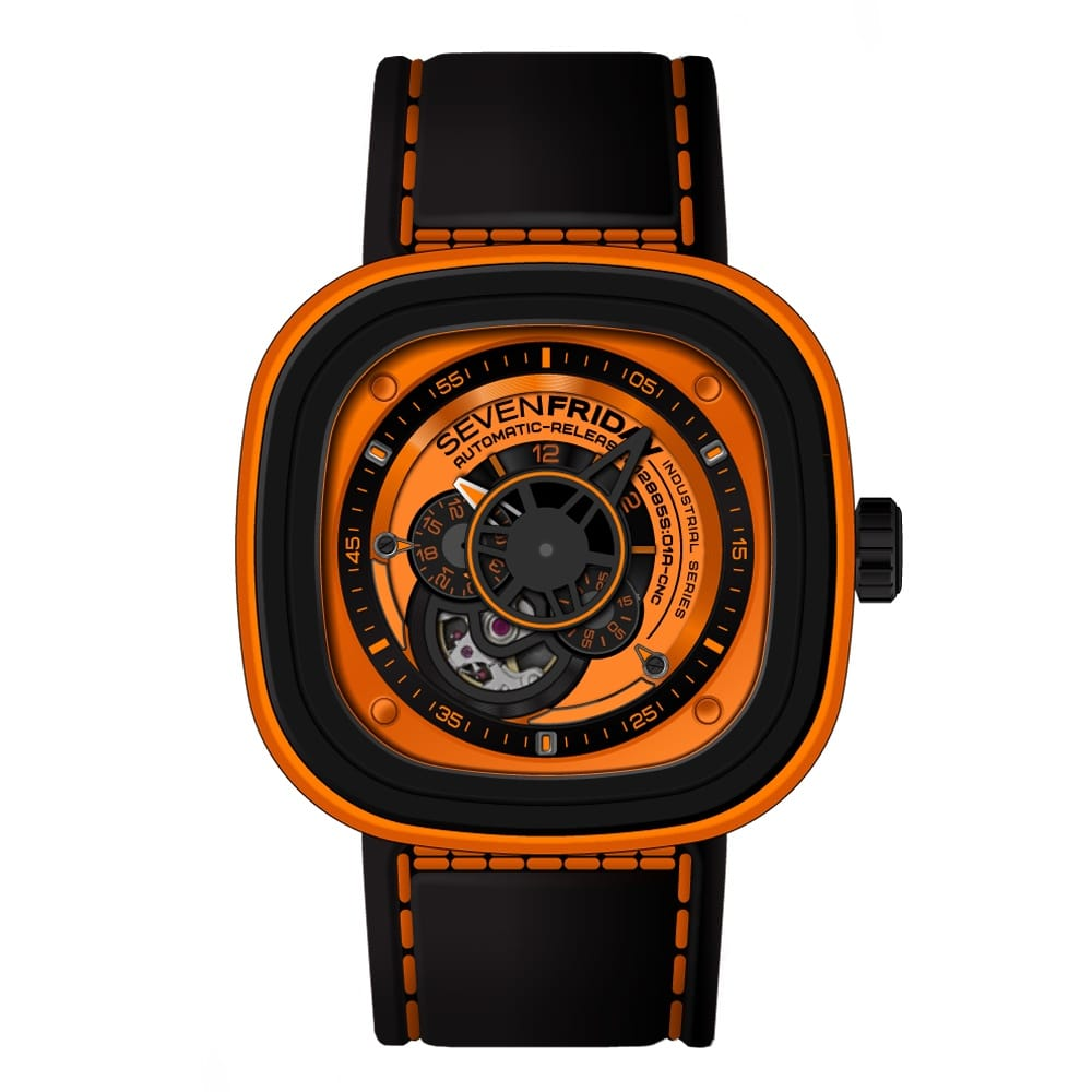Sevenfriday p1 03 orange watch from berry 39 s jewellers for Sevenfriday watches