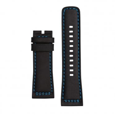 P1/04 Black Calf Leather & Blue Lining Watch Strap
