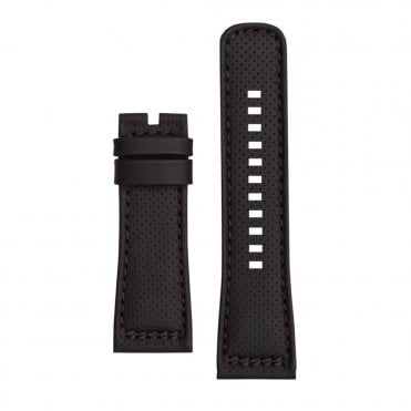 P3/01 Perforated Black Calf Leather Watch Strap