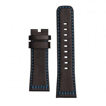 Prior's Court Black Leather & Turquoise Lining Watch Strap