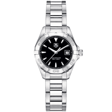 Aquaracer 27mm Black Dial Ladies Bracelet Watch