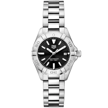 Aquaracer 27mm Steel & Black Dial Ladies Bracelet Watch