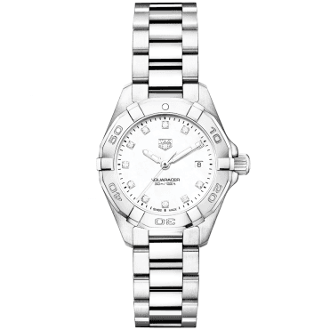 Aquaracer 27mm Steel & Mother of Pearl Dial Ladies Bracelet Watch
