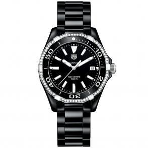 191005e5025 Aquaracer 300m All Black Ceramic   Diamond Set Bezel Watch. TAG Heuer ...