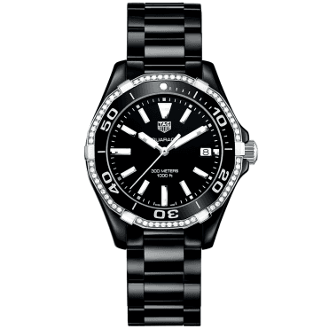 Aquaracer 300m All Black Ceramic & Diamond Set Bezel Watch
