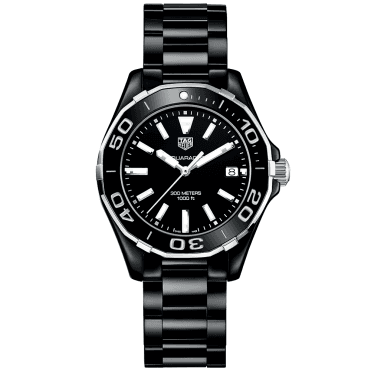 Aquaracer 300m All Black Ceramic Ladies Watch