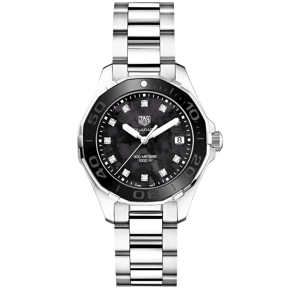 3895794b1587 TAG Heuer Aquaracer 300m Black Mother of Pearl & Diamond Set Dial Watch