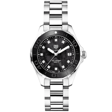 Aquaracer 300m Black Mother of Pearl & Diamond Set Dial Watch