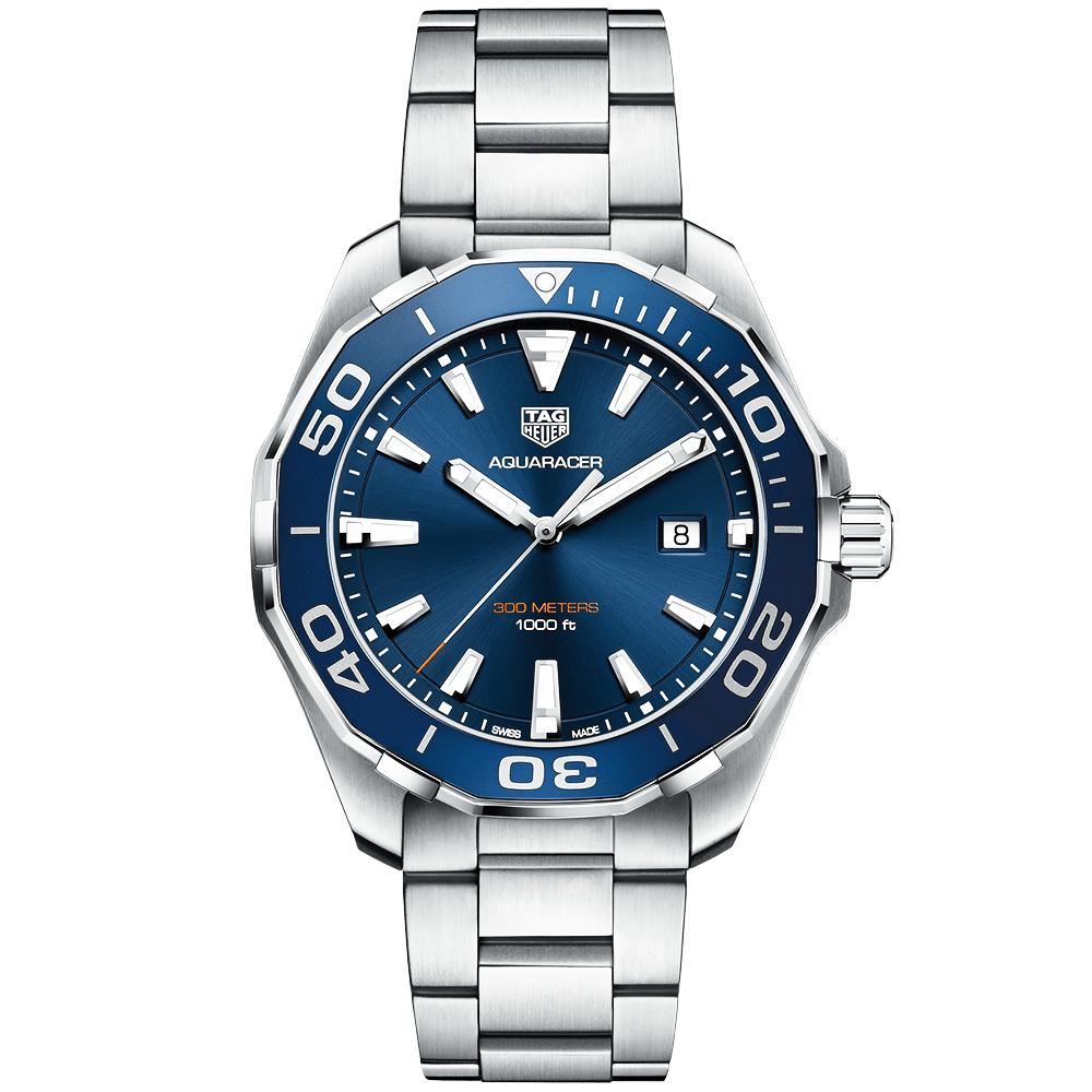 Tag heuer aquaracer 300m blue dial bezel men 39 s bracelet watch for The tag heuer aquaracer