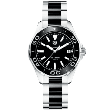 Aquaracer 300m Steel & Black Ceramic Ladies Watch