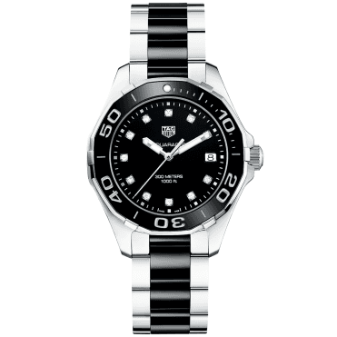 Aquaracer 300m Steel & Black Diamond Dot Dial Ladies Watch