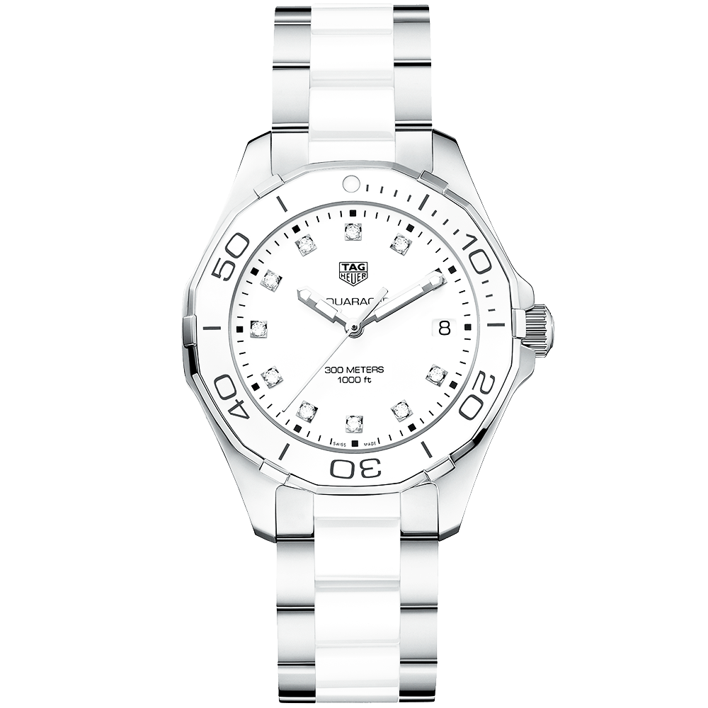 6dcbf4f5a13 TAG Heuer TAG Heuer Aquaracer 300m Steel   White Diamond Dot Dial Ladies  Watch