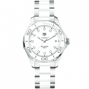 Aquaracer 300m Steel & White Diamond Dot Dial Ladies Watch