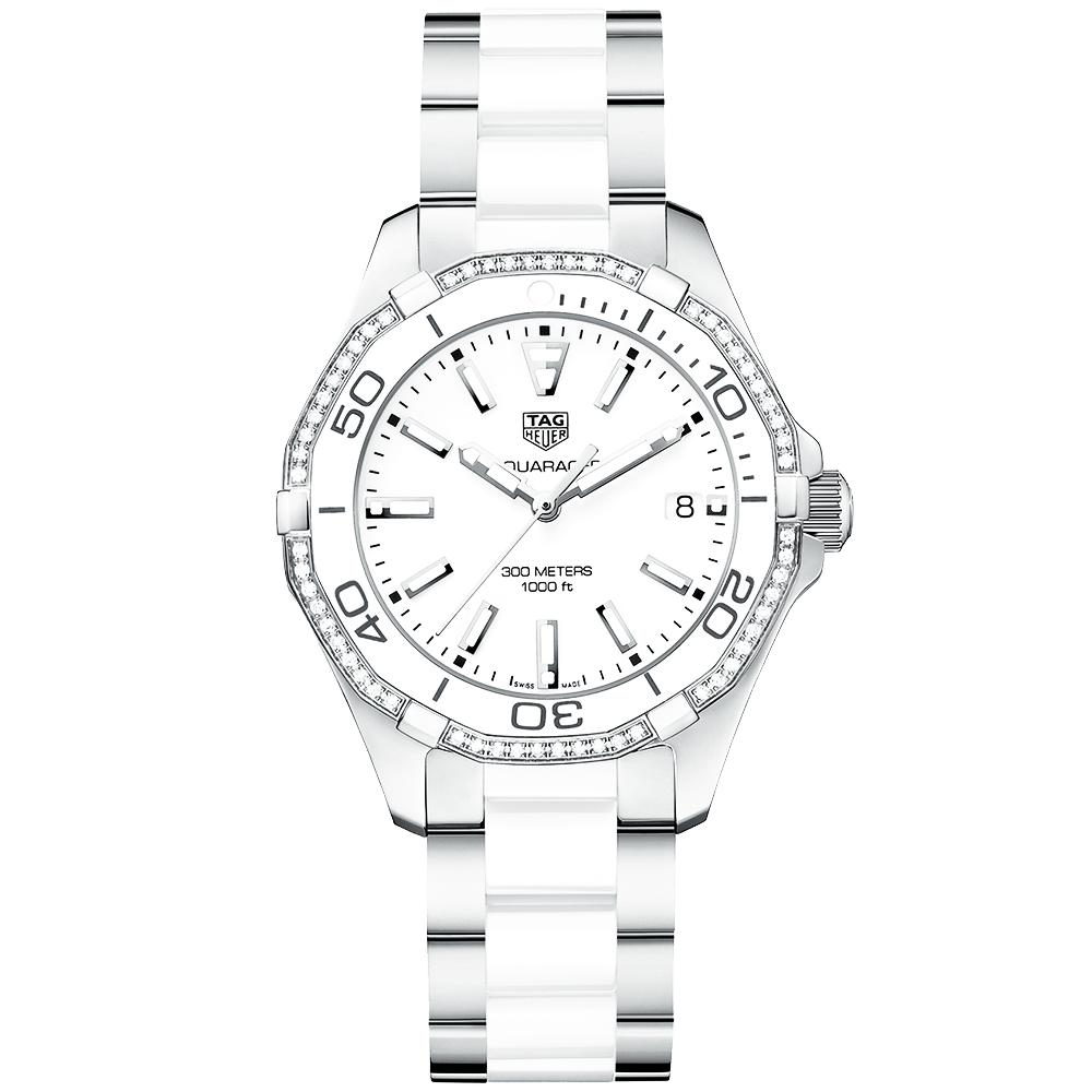 028ac067e37 Aquaracer 300m White Ceramic   Diamond Bezel Set Watch · TAG Heuer ...