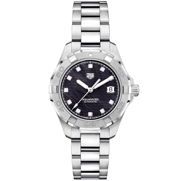 Aquaracer 32mm Black Mother of Pearl Diamond Dial Ladies Bracelet Watch