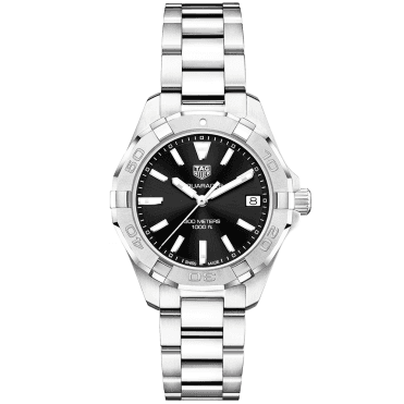 Aquaracer 32mm Steel & Black Dial Ladies Bracelet Watch