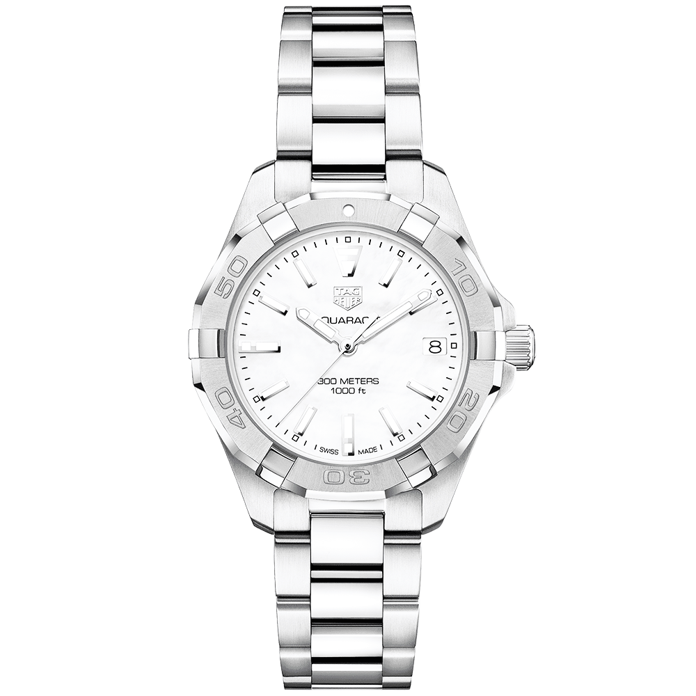 36b9da13b557 TAG Heuer TAG Heuer Aquaracer 32mm Steel   White Mother of Pearl Dial Ladies  Bracelet Watch