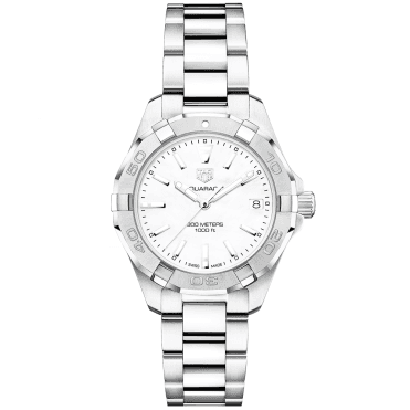 Aquaracer 32mm Steel & White Mother of Pearl Dial Ladies Bracelet Watch