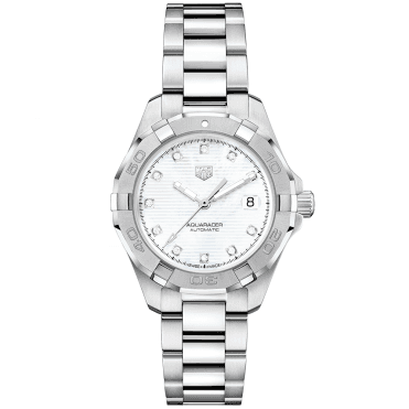 Aquaracer 32mm White Mother of Pearl Diamond Dial Ladies Bracelet Watch