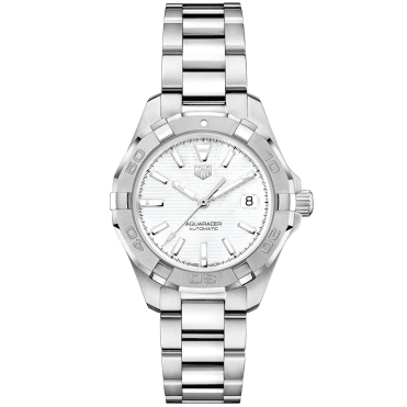 Aquaracer 32mm White Mother of Pearl Index Dial Ladies Bracelet Watch